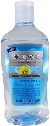 Enhanced Witch Hazel, Deep Cleansing, Astringent, Extra Strength, 16 fl oz (473 ml) by Dickinson Brands, 健康,皮膚,金縷梅,美容,面部護理,收斂劑 HK 香港