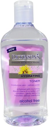 Enhanced Witch Hazel, Hydrating Toner, Alcohol Free, 16 fl oz (473 ml) by Dickinson Brands, 美容,面部調色劑,皮膚,金縷梅 HK 香港