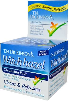 T.N. Dickinsons Witch Hazel Cleansing Pads, 60 Pads, 2.13 in (5.41 cm) dia by Dickinson Brands, 美容,面部護理,潔面乳,皮膚 HK 香港