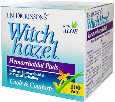 T.N. Dickinsons Witch Hazel Hemorrhoidal Pads, with Aloe, 100 Pads by Dickinson Brands, 健康,痔瘡,痔瘡產品 HK 香港