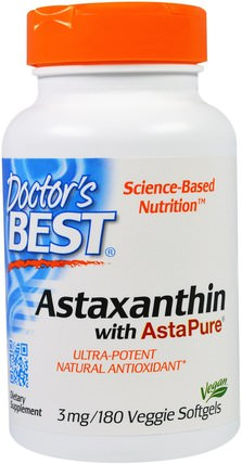 Astaxanthin With AstaPure, 3 mg, 180 Veggie Softgels by Doctors Best, 補充劑,抗氧化劑,蝦青素 HK 香港