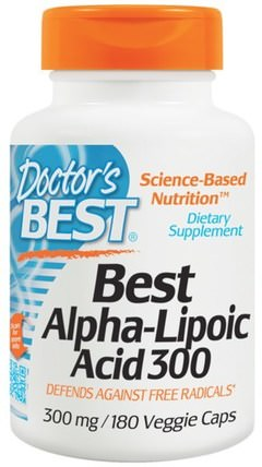 Best Alpha-Lipoic Acid, 300 mg, 180 Veggie Caps by Doctors Best, 補充劑,抗氧化劑,α硫辛酸,α硫辛酸300毫克 HK 香港