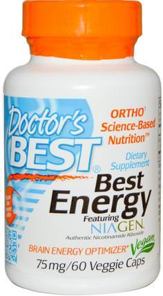 Doctors Best, Best Energy Featuring Niagen, 75 mg, 60 Veggie Caps 健康,精力