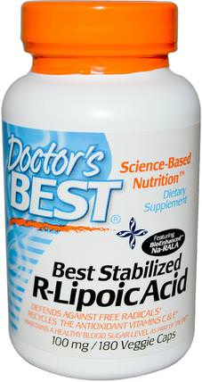 Best Stabilized R-Lipoic Acid, 100 mg, 180 Veggie Caps by Doctors Best, 補充劑,抗氧化劑,α硫辛酸,硫辛酸 HK 香港