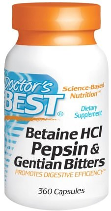 Betaine HCl, Pepsin & Gentian Bitters, 360 Capsules by Doctors Best, 補充劑,甜菜鹼hcl,酶 HK 香港