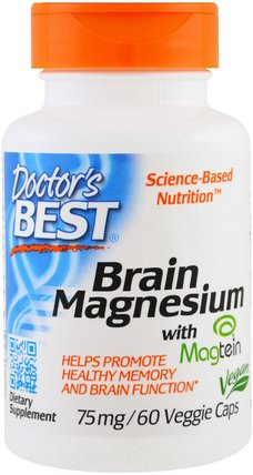 Brain Magnesium with Magtein, 75 mg, 60 Veggie Caps by Doctors Best, 補充劑,礦物質,鎂,健康,注意力缺陷障礙,添加,adhd,腦 HK 香港