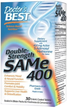 SAM-e, 400 mg, Double-Strength, 30 Enteric Coated Tablets by Doctors Best, 健康,藥物濫用,成癮,sam-e(s-adenosyl methionine),sam-e 400 mg HK 香港