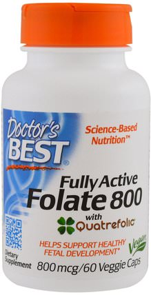 Fully Active Folate 800, 800 mcg, 60 Veggie Caps by Doctors Best, 維生素,葉酸,注意力缺陷障礙,添加,adhd,腦,記憶 HK 香港