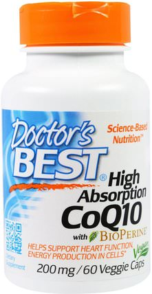 High Absorption CoQ10 with BioPerine, 200 mg, 60 Veggie Caps by Doctors Best, 補充劑,輔酶q10,coq10 200毫克 HK 香港