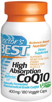 High Absorption CoQ10 with BioPerine, 400 mg, 180 Veggie Caps by Doctors Best, 補充劑,輔酶q10,coq10 400毫克 HK 香港
