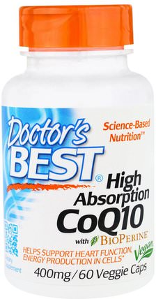 High Absorption CoQ10 with BioPerine, 400 mg, 60 Veggie Caps by Doctors Best, 補充劑,輔酶q10,coq10 400毫克 HK 香港
