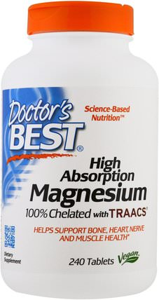 High Absorption Magnesium, 100% Chelated, 240 Tablets by Doctors Best, 補品,礦物質,鎂 HK 香港