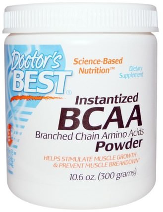 Instantized BCAA Powder, 10.6 oz (300 g) by Doctors Best, 補充劑,氨基酸,bcaa(支鏈氨基酸) HK 香港