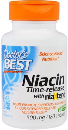 Niacin, Time-Released With Niaxtend, 500 mg, 120 Tablets by Doctors Best, 維生素,維生素B,維生素b3,維生素b3 - 菸酸沖洗 HK 香港
