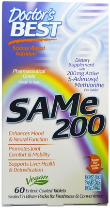 SAM-e, 200 mg, 60 Enteric Coated Tablets by Doctors Best, 健康,藥物濫用,成癮,sam-e(s-adenosyl methionine),sam-e 200 mg HK 香港