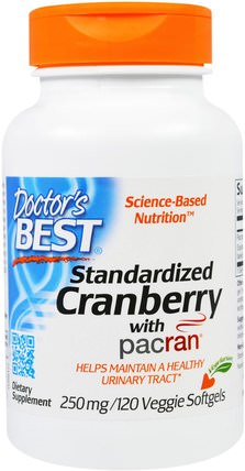 Standardized Cranberry with Pacran, 250 mg, 120 Veggies Softgels by Doctors Best, 草藥,蔓越莓 HK 香港