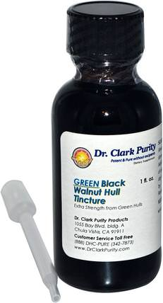 Green Black Walnut Hull Tincture, 1 fl oz by Dr. Clarks Purity Products, 草藥,黑胡桃 HK 香港