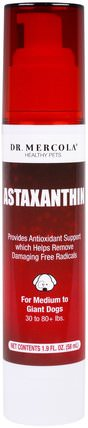 Astaxanthin, For Medium to Giant Dogs, 1.9 fl oz (58 ml) by Dr. Mercola, 補充劑,抗氧化劑,蝦青素 HK 香港