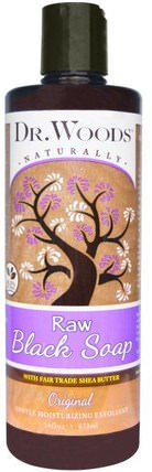 Raw Black Soap with Fair Trade Shea Butter, Original, 16 fl oz (473 ml) by Dr. Woods, 洗澡,美容,肥皂,黑色肥皂 HK 香港