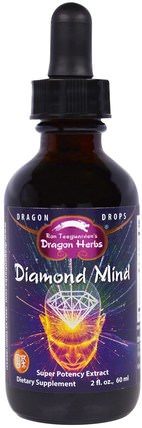 Diamond Mind, Super Potency Extract, 2 fl oz (60 ml) by Dragon Herbs, 健康,注意力缺陷障礙,添加,adhd,大腦,記憶,草藥,銀杏葉 HK 香港