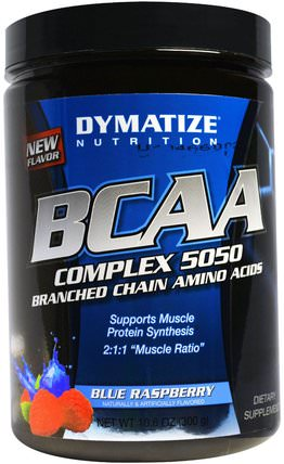 BCAA, Complex 5050, Branched Chain Amino Acids, Blue Raspberry, 10.6 oz (300 g) by Dymatize Nutrition, 補充劑,氨基酸,bcaa(支鏈氨基酸) HK 香港