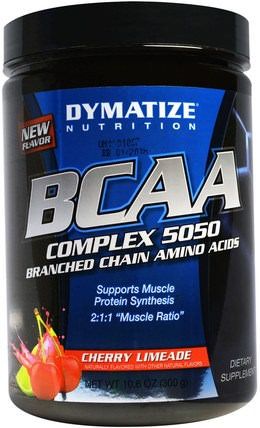 BCAA, Complex 5050, Branched Chain Amino Acids, Cherry Limeade, 10.6 oz (300 g) by Dymatize Nutrition, 補充劑,氨基酸,bcaa(支鏈氨基酸) HK 香港