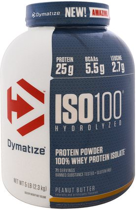 ISO 100 Hydrolyzed, 100% Whey Protein Isolate, Peanut Butter, 5 lb (2.3 kg) by Dymatize Nutrition, 運動,補品,乳清蛋白 HK 香港
