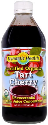 Certified Organic Tart Cherry 100% Juice Concentrate, Unsweetened, 16 fl oz (473 ml) by Dynamic Health Laboratories, 食品,咖啡茶和飲料,果汁 HK 香港