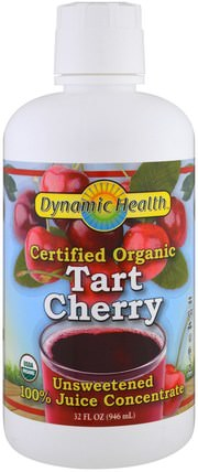 Certified Organic Tart Cherry Juice Concentrate, Unsweetened, 32 fl oz (946 ml) by Dynamic Health Laboratories, 食品,咖啡茶和飲料,果汁 HK 香港