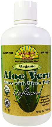 Organic Aloe Vera Juice with Micro Pulp, Unflavored, 32 fl oz (946 ml) by Dynamic Health Laboratories, 食品,咖啡茶和飲料,果汁 HK 香港