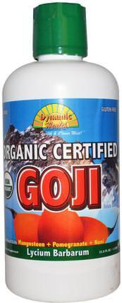 Dynamic Health Laboratories, Organic Goji Juice Blend, 33.8 fl oz (1 l) 食品,咖啡茶和飲料,果汁,補品,adaptogen