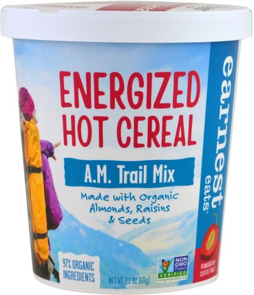 Energized Hot Cereal, A.M. Trail Mix, 2.1 oz (60 g) by Earnest Eats, 食品,食品,穀物,全麥穀物,燕麥燕麥片 HK 香港