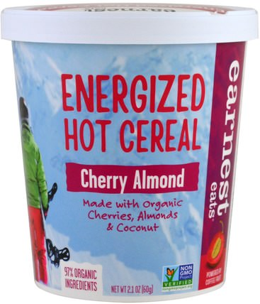 Energized Hot Cereal, Cherry Almond, 2.1 oz (60 g) by Earnest Eats, 食品,食品,穀物,全麥穀物,燕麥燕麥片 HK 香港
