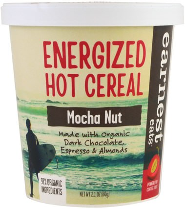 Energized Hot Cereal, Mocha Nut, 2.1 oz (60 g) by Earnest Eats, 食品,食品,穀物,全麥穀物,燕麥燕麥片 HK 香港