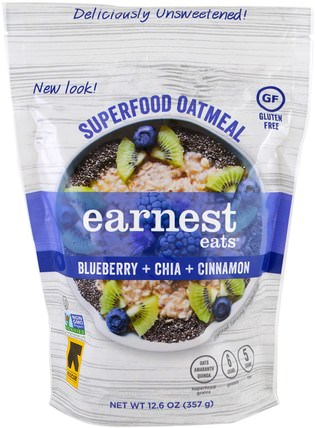 Superfood Oatmeal, Blueberry + Chia + Cinnamon, 12.6 oz (357 g) by Earnest Eats, 食品,食品,穀物,全麥穀物,燕麥燕麥片 HK 香港