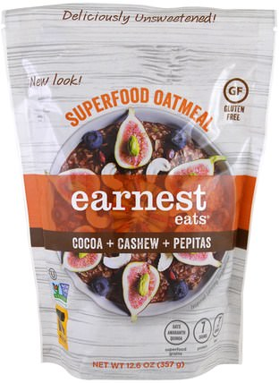 Superfood Oatmeal, Cocoa + Cashew + Pepitas, 12.6 oz (357 g) by Earnest Eats, 食品,食品,穀物,全麥穀物,小吃 HK 香港