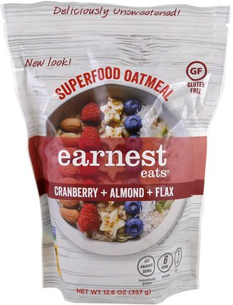 Superfood Oatmeal, Cranberry + Almond + Flax, 12.6 oz (357 g) by Earnest Eats, 食品,零食,食品,燕麥燕麥片 HK 香港