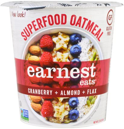 Superfood Oatmeal, Cranberry + Almond + Flax, American Blend, 2.35 oz (67 g) by Earnest Eats, 食品,食品,穀物,全麥穀物,燕麥燕麥片 HK 香港