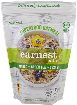 Superfood Oatmeal, Mango + Green Tea + Sesame, 12.6 oz (357 g) by Earnest Eats, 食品,食品,穀物,全麥穀物,燕麥燕麥片 HK 香港