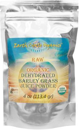 Raw Organic Dehydrated Barley Grass Juice Powder, 4 oz (113.4 g) by Earth Circle Organics, 補品,超級食品,大麥草 HK 香港