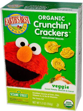Organic Crunchin Crackers, Sesame Street, Veggie Sweet Potato, Broccoli & Carrot, 5.3 oz (150 g) by Earths Best, 兒童健康,嬰兒餵養,嬰兒零食和手指食品,幼兒零食,兒童食品 HK 香港