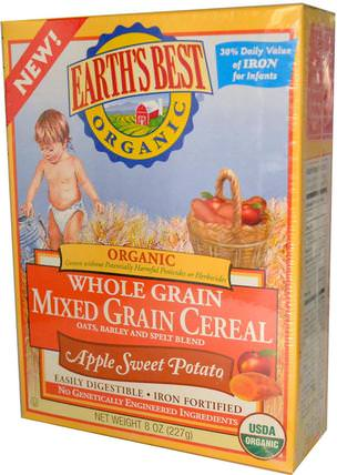 Organic Whole Grain Mixed Grain Cereal, Apple Sweet Potato, 8 oz (227 g) by Earths Best, 兒童健康,兒童食品,嬰兒餵養,嬰兒穀物 HK 香港