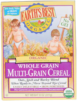 Organic Whole Grain Multi-Grain Cereal, 8 oz (227 g) by Earths Best, 兒童健康,兒童食品,嬰兒餵養,嬰兒穀物 HK 香港