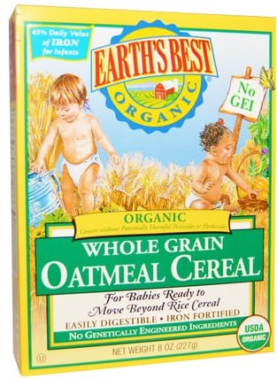 Organic Whole Grain Oatmeal Cereal, 8 oz (227 g) by Earths Best, 兒童健康,兒童食品,嬰兒餵養,嬰兒穀物 HK 香港
