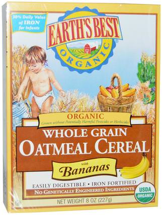 Organic Whole Grain Oatmeal Cereal with Bananas, 8 oz (227 g) by Earths Best, 兒童健康,兒童食品,嬰兒餵養,嬰兒穀物 HK 香港