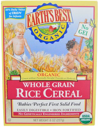 Organic Whole Grain Rice Cereal, 8 oz (227 g) by Earths Best, 兒童健康,兒童食品,嬰兒餵養,嬰兒穀物 HK 香港