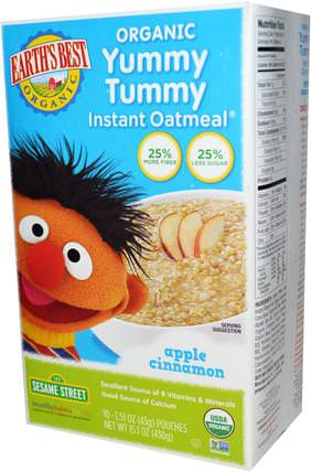 Organic Yummy Tummy Instant Oatmeal, Apple Cinnamon, 10 Pouches, 1.51 oz (43 g) Each by Earths Best, 兒童健康,兒童食品,嬰兒餵養,嬰兒穀物 HK 香港