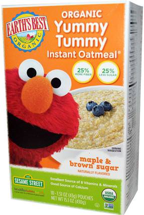 Organic Yummy Tummy Instant Oatmeal, Maple & Brown Sugar, 10 Pouches, 1.51 oz (43 g) Each by Earths Best, 兒童健康,兒童食品,嬰兒餵養,嬰兒穀物 HK 香港