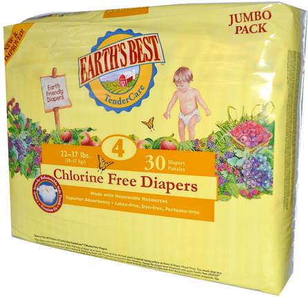 TenderCare, Chlorine Free Diapers, Size 4, 22-37 lbs, 30 Diapers by Earths Best, 兒童健康,尿布,一次性尿布 HK 香港