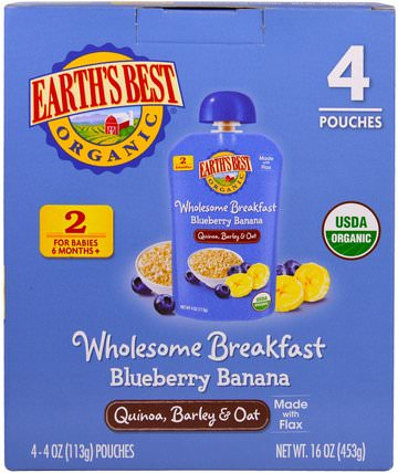 Earths Best, Wholesome Breakfast, Organic Blueberry Banana Flax and Oat Pouches, 6 + Months, 4 Pack, 4.0 oz (113 g) Each 兒童健康,兒童食品